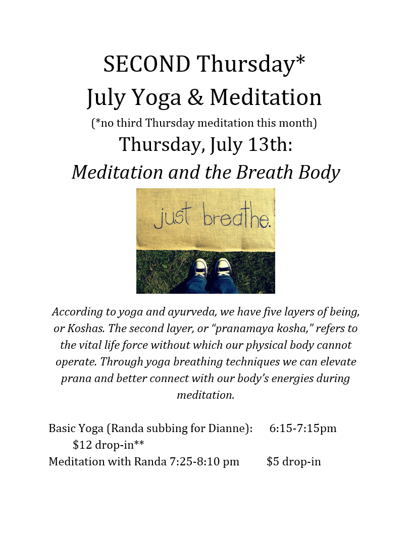 Second Thursday Yoga & Meditation